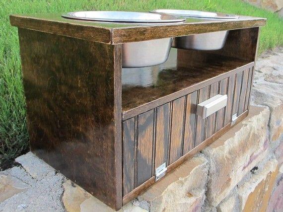Beautiful Raised Dog Feeder Double Wood Storage Dark By FetchNFluff