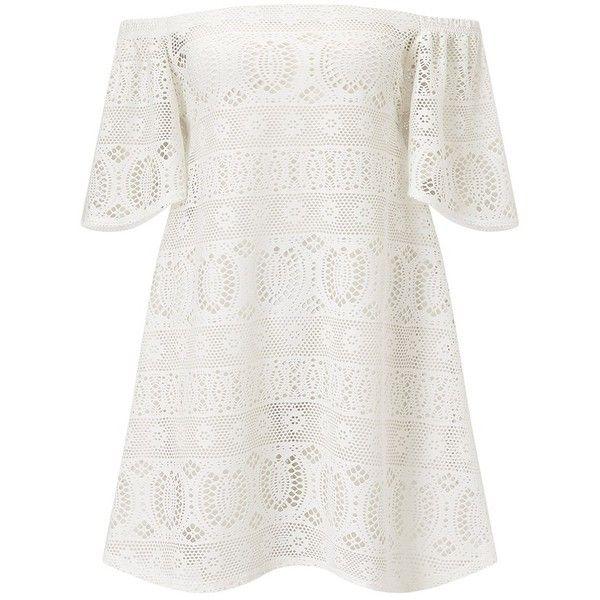 Boohoo Crochet Bardot Beach Dress ❤ liked on Polyvore featuring ...