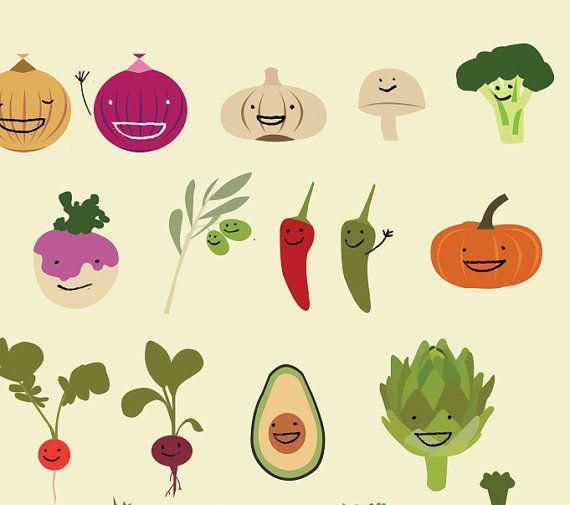 Happy Vegetables Illustration Print Vegetable illustration