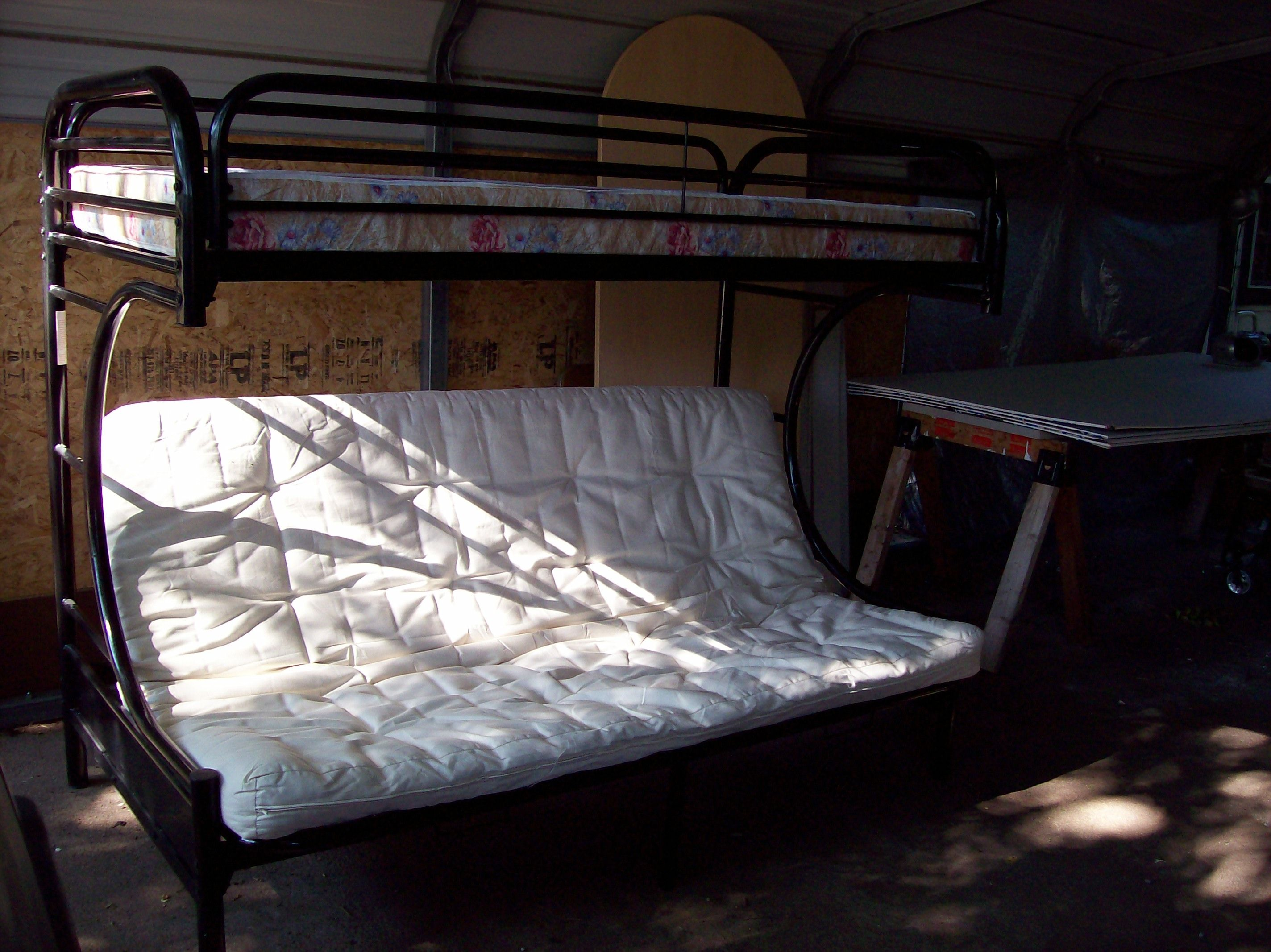 nice bunk bed twin top full size bottom futon w mattresses 95