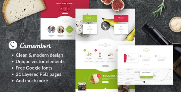 nice Camembert - Wine Restaurant &amp Cheese Shop PSD Template (Meals)