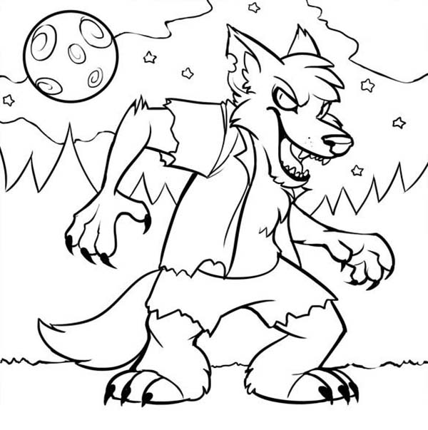 Little Werewolf In The Night Coloring Page : Coloring Sun ...