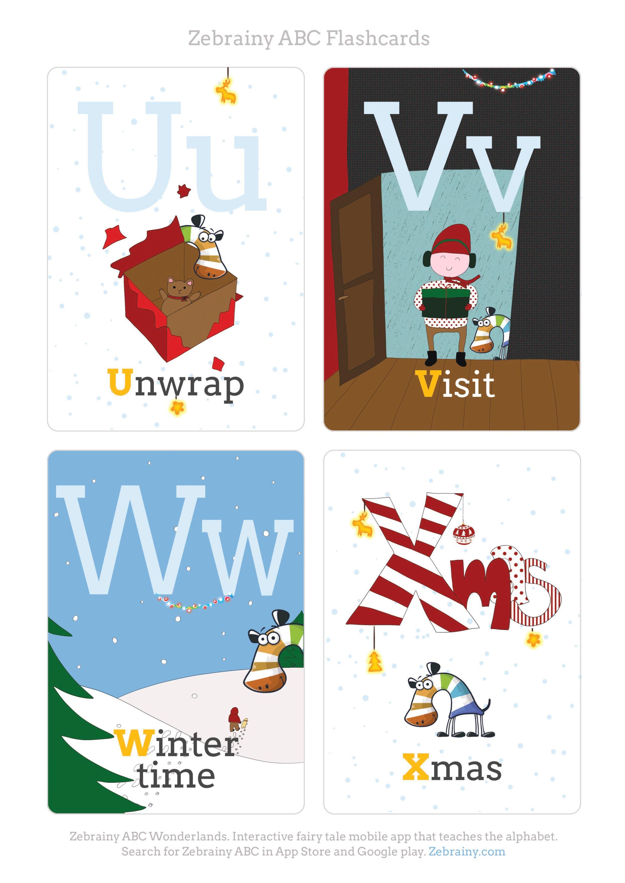 Christmas printable abc flash cards