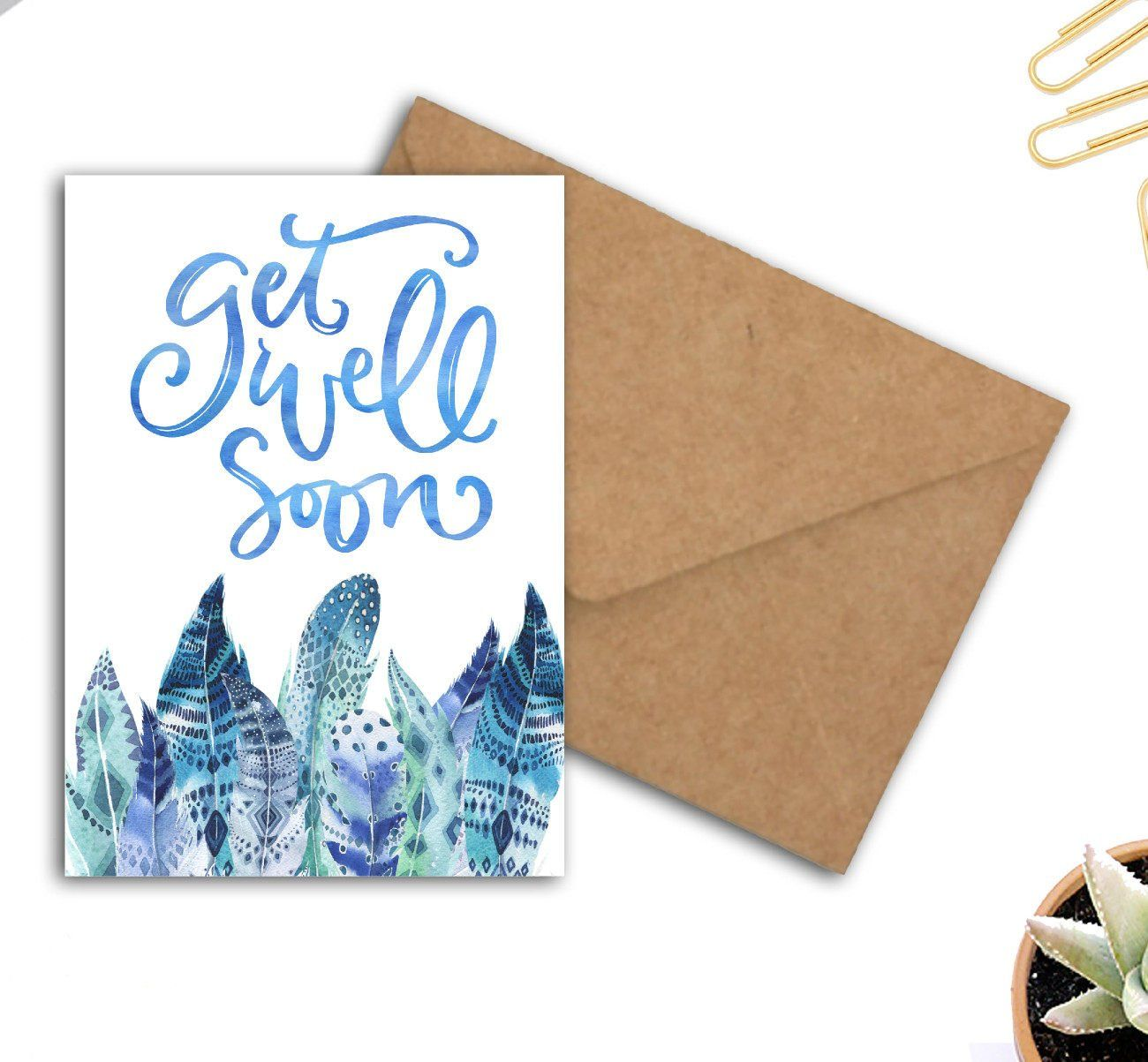Thank You Feather Set Watercolour Paint Blue Yellow Blank Greeting Card