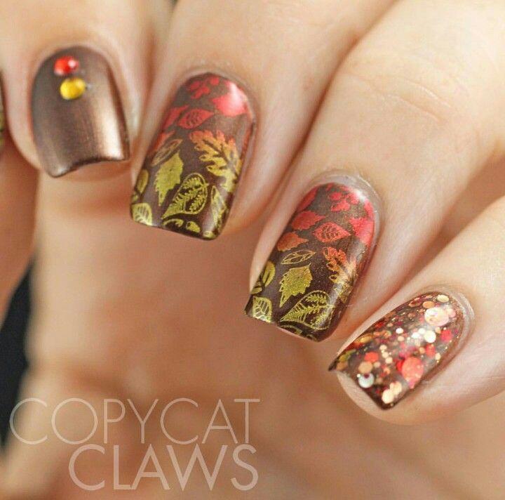 Fall / autumn leaves nail art   Nails   Pinterest   Autumn, Autumn ...