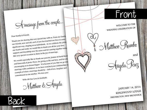 Half Fold Wedding Program Template Heart Strings Blush Pink Black