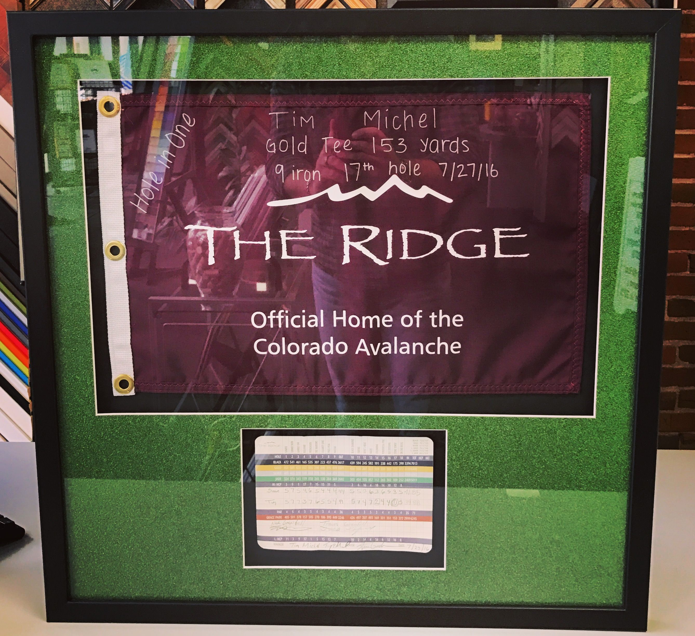 Custom Hole In One Presentation Built To Last A Lifetime Come Frame Your Items With Denver S Sports And Shadowbox Fram Custom Framing Shadow Box Hole In One