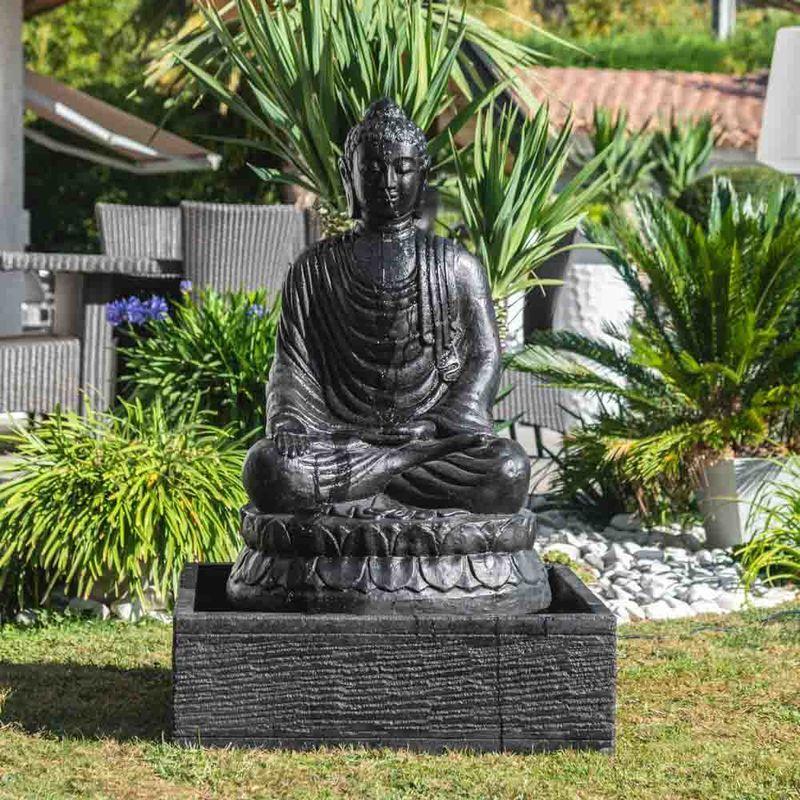 Fontaine de jardin bouddha assis 1 m 20 patiné noir – 3127