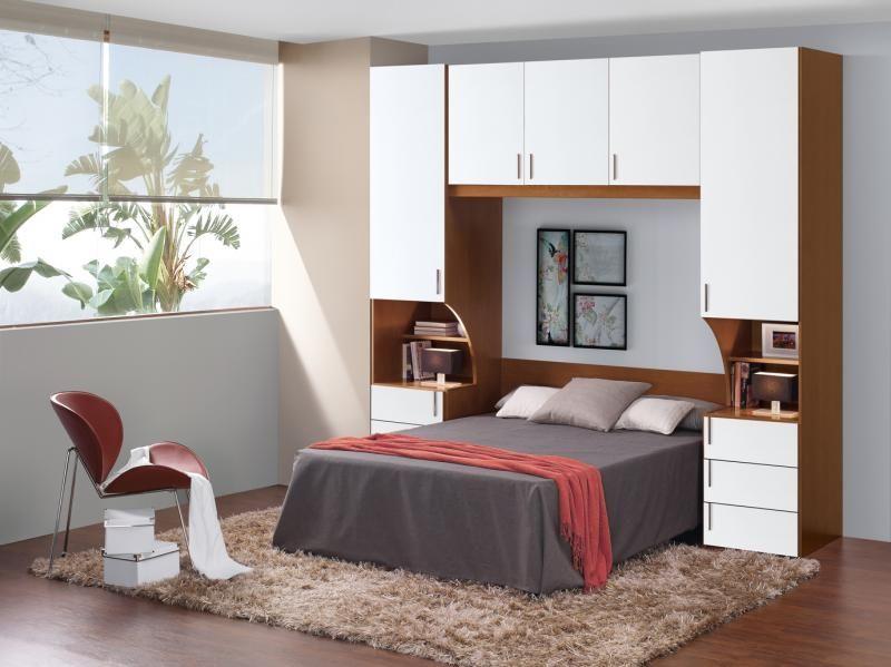 Armario Puente Con Mesitas De Noche Incorporadas A Ambos Lados De La Cama Blanco Dormitorios Juegos De Dormitorio Matrimonial Armarios De Dormitorio