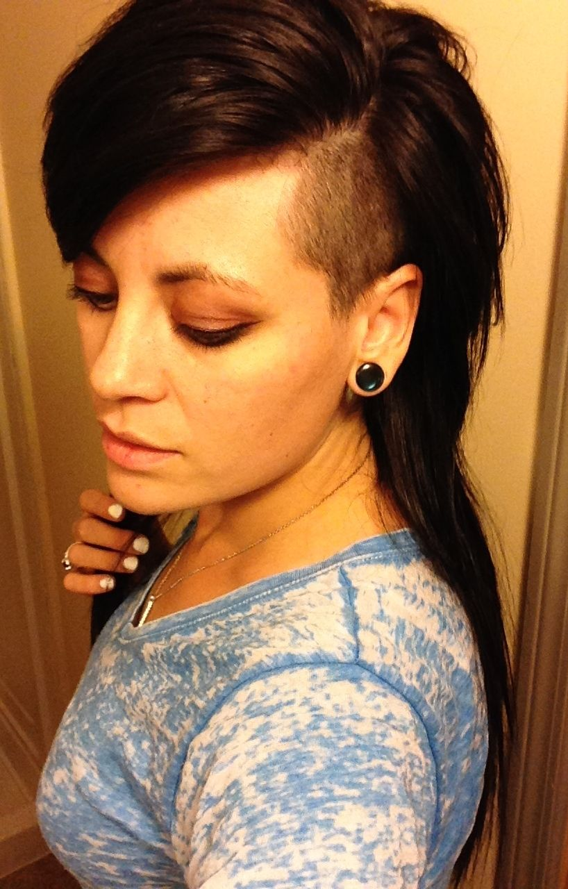 long hair shaved sides - choppy deep parted side bangs