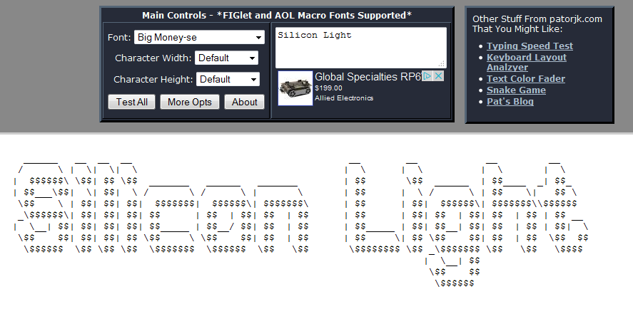 Text To Ascii Art Generator Taag Things Of Beauty And Awe