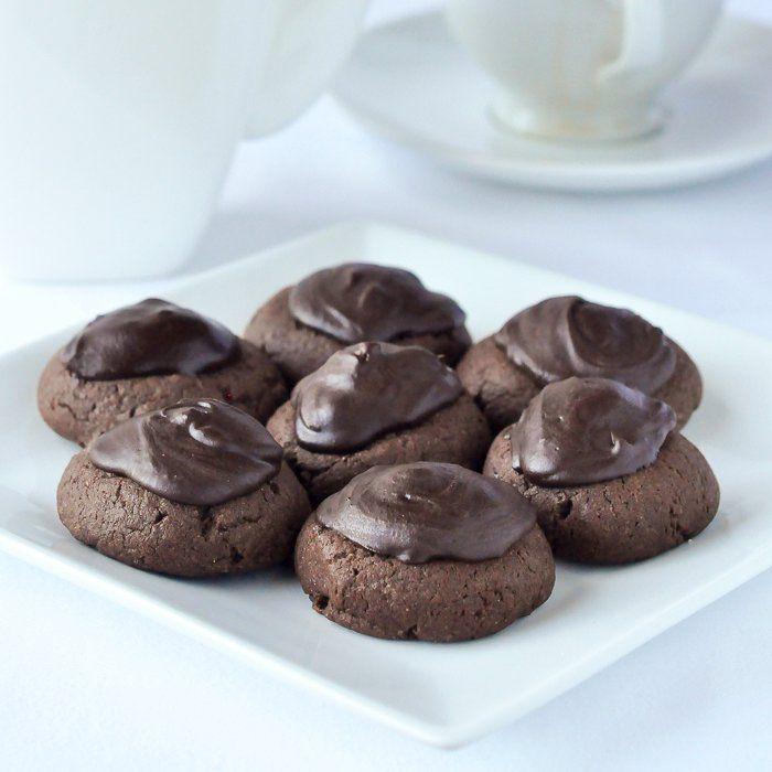 Midnight Mint Thumbprint Cookies