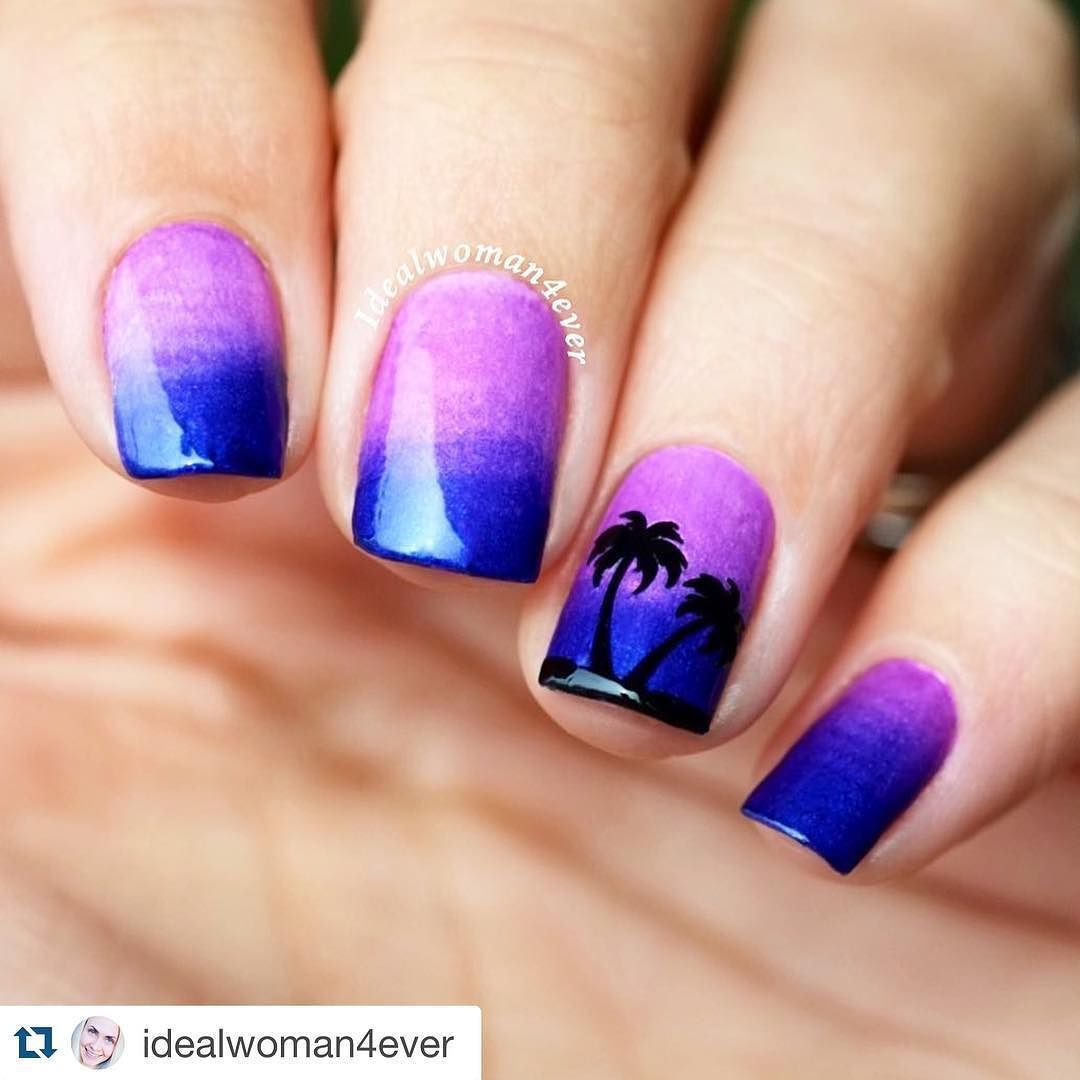 Let the summer begin! Palm tree sunset. This nail art is made using ...