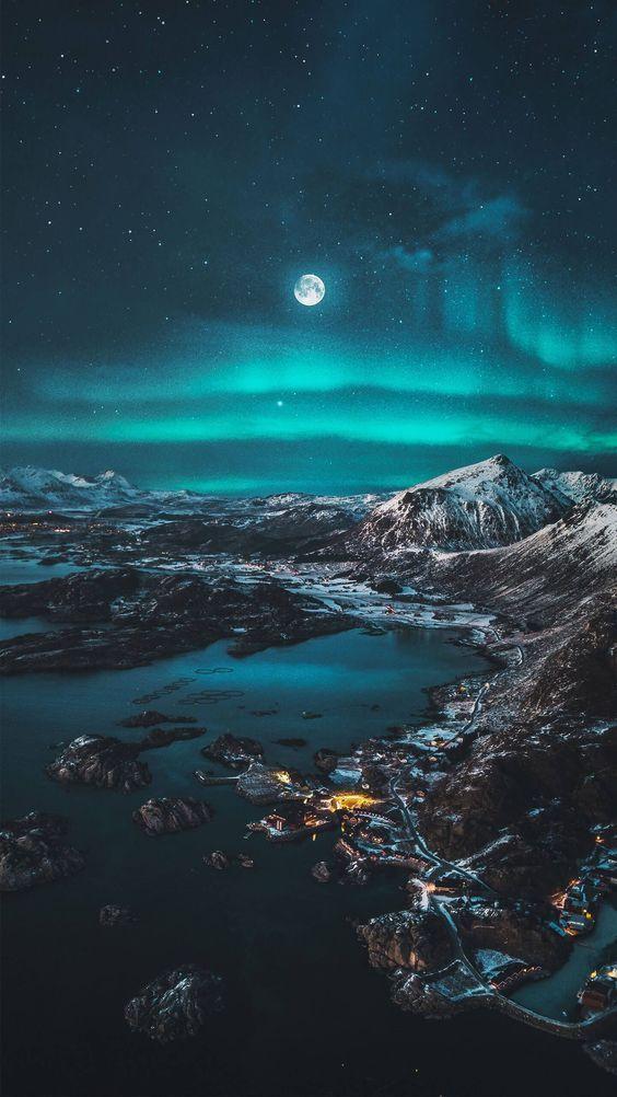 Montas E Lua Imagem Impactante Galaxy Wallpaper Papeis De