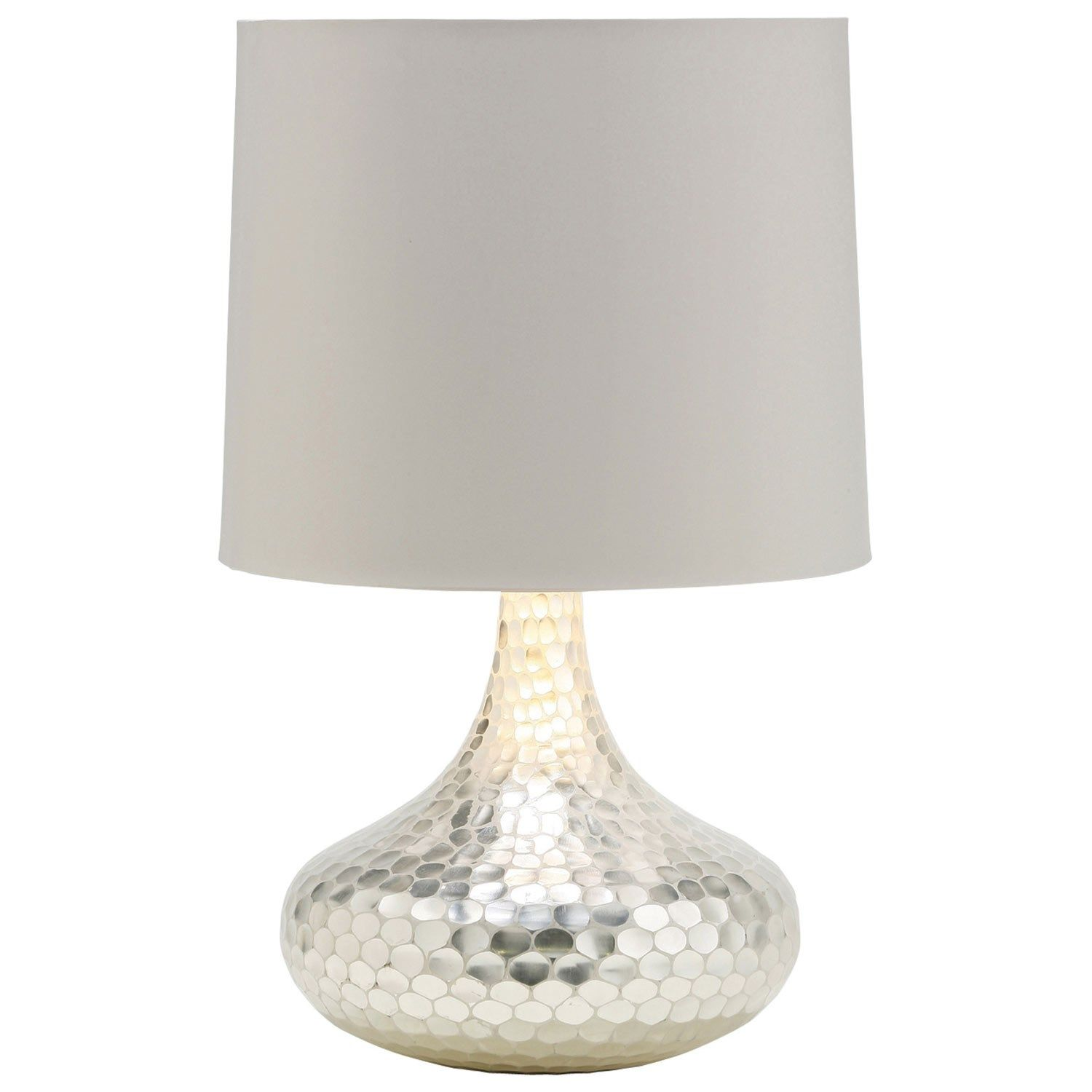 Arteriors Tortoise Silver Bottle Neck Glass Table Lamp Lamps