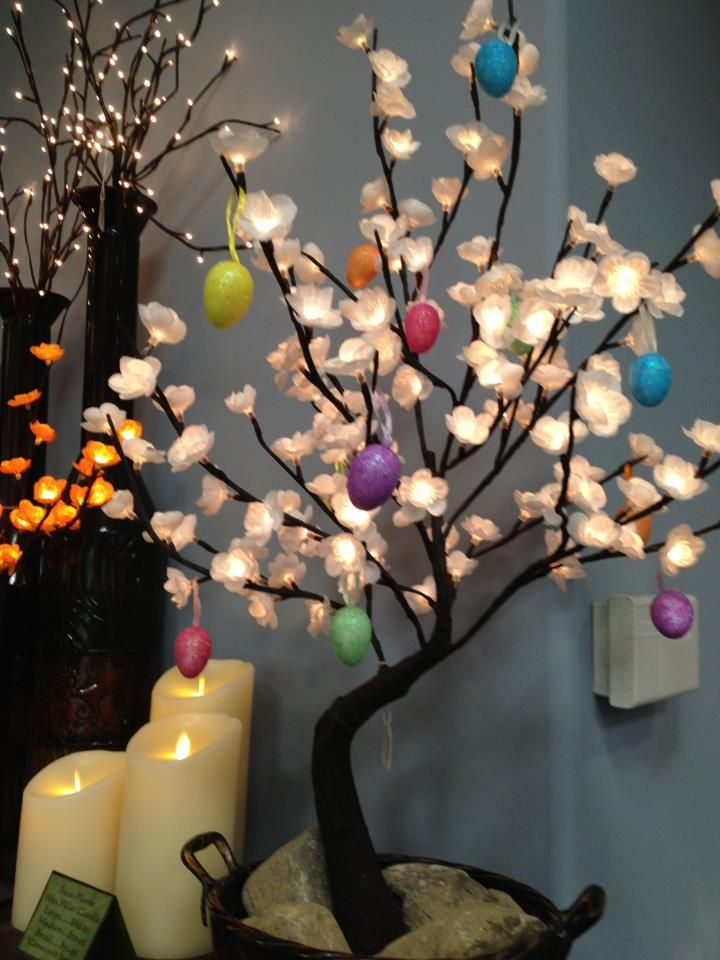 Lighted bonsai tree decorated for Easter