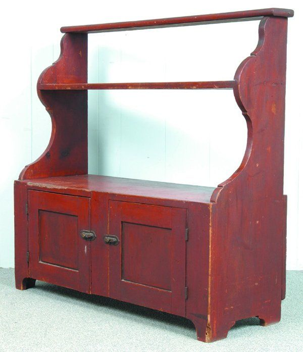 Good Pa Red Softwood Bucket Bench Two Graduated S Painting Antique Furniture Painted Benches Primitive Decorating Country