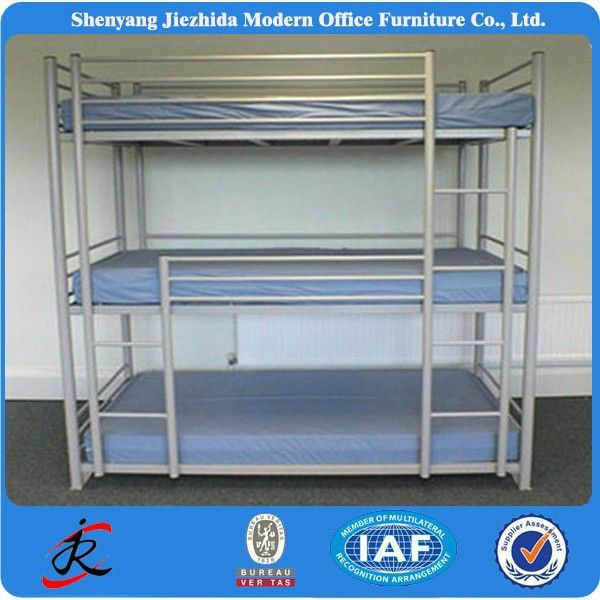 Source High Quality Home Dormitory Steel Hostel Beds 3 Layer Sleepers Triple Metal Bunk Bed