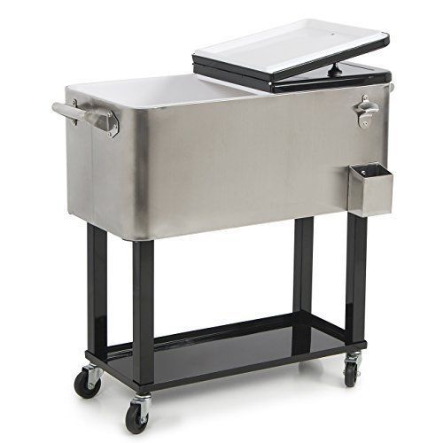 Portable Cooler Stainless Steel Outdoor Dinner Party Patio Cooler Cart 80  QT NEW #PortableCoolerStainlessSteel