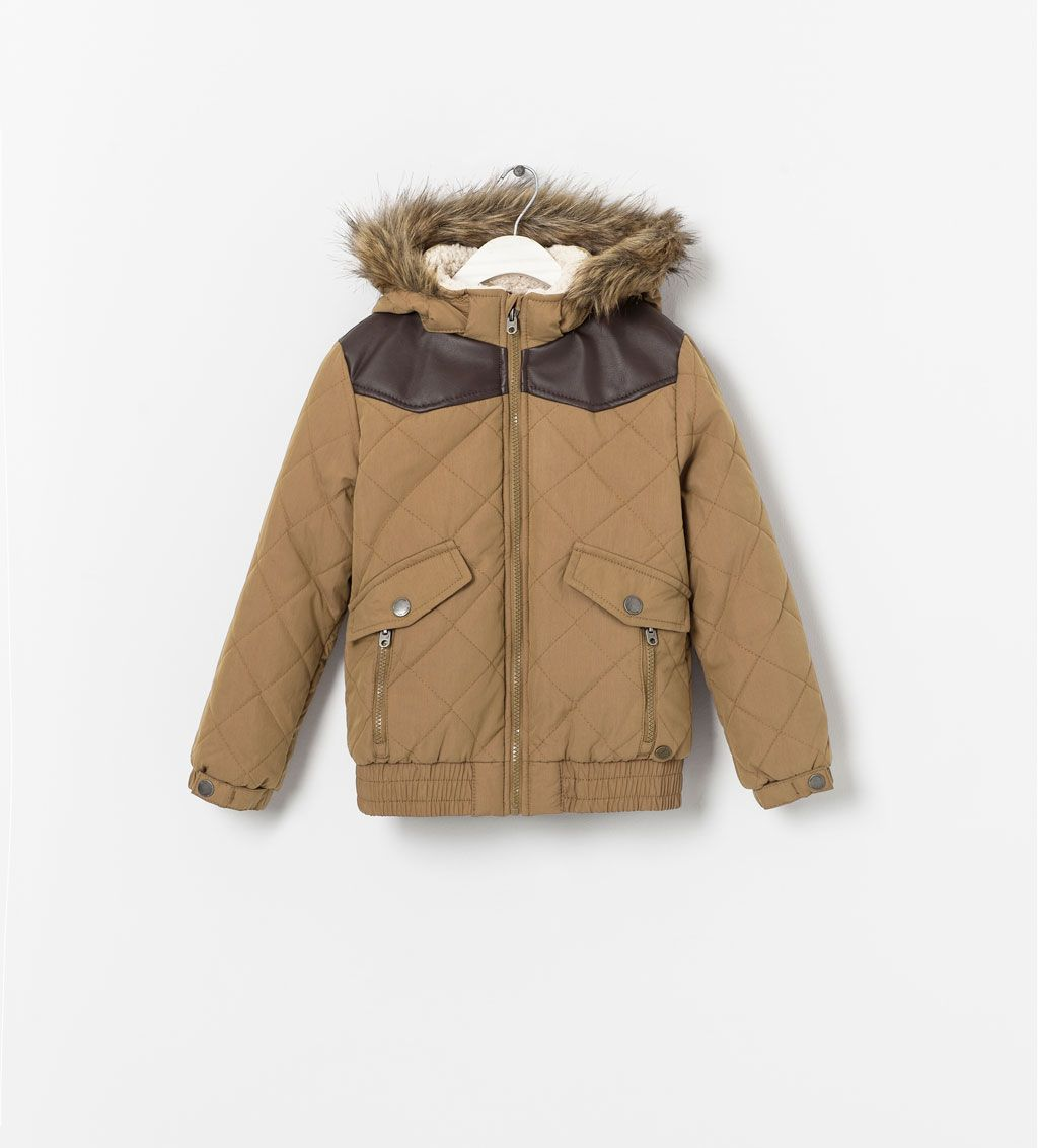 Boys Brown Contrast Puffer Jacket From Zara With