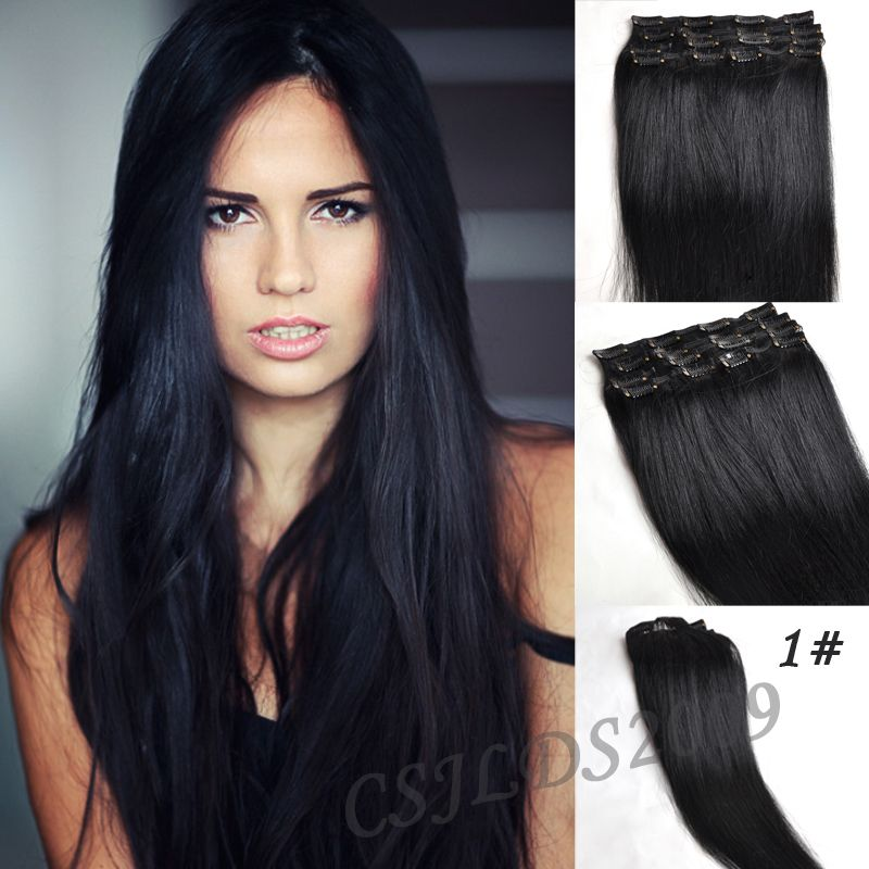 Clip in 100 real human hair extensions jet black 1 full head clip in 100 real human hair extensions jet black 1 full head pmusecretfo Choice Image