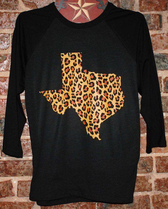 db4736ac CHEETAH LEOPARD TEXAS Animal Print Black on Black Heather Boho Baseball  Raglan Ladies TShirt Womans