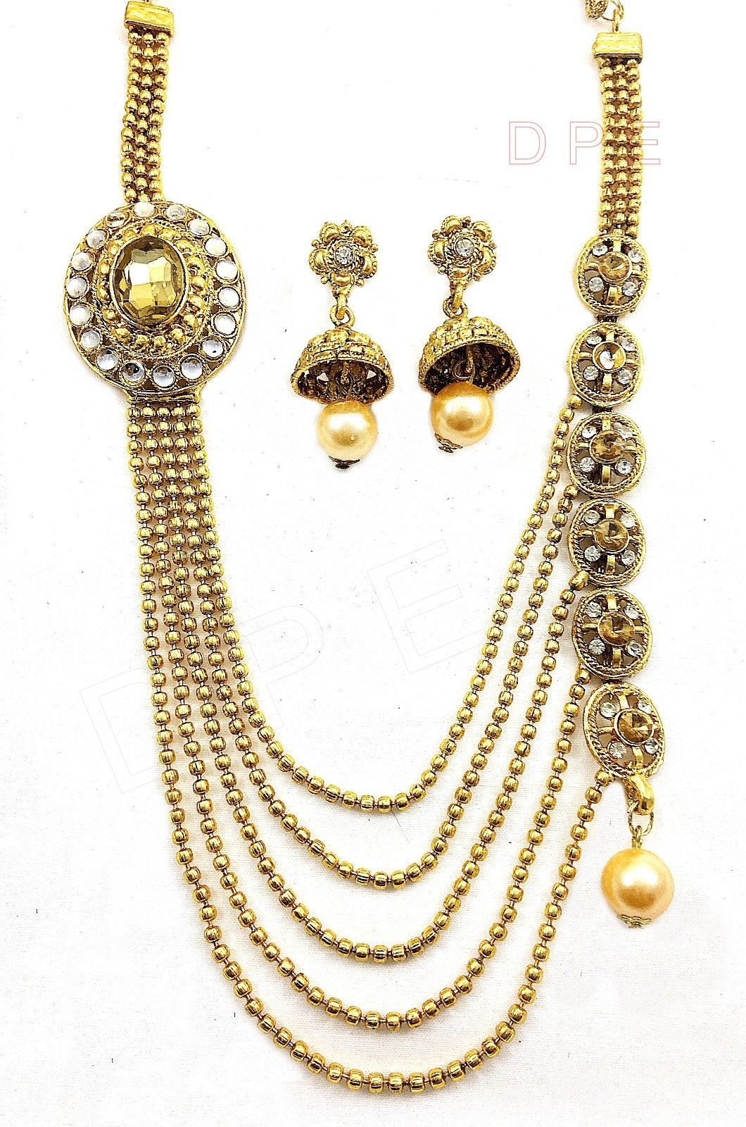 Indian bollywood gold plated stones kundan necklace earrings party
