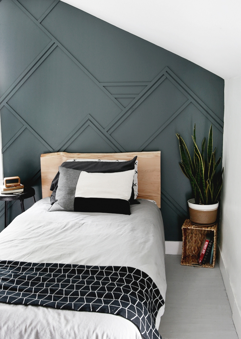 Diy Wood Trim Accent Wall In 2020 Feature Wall Bedroom Boy Bedroom Design Accent Wall Bedroom