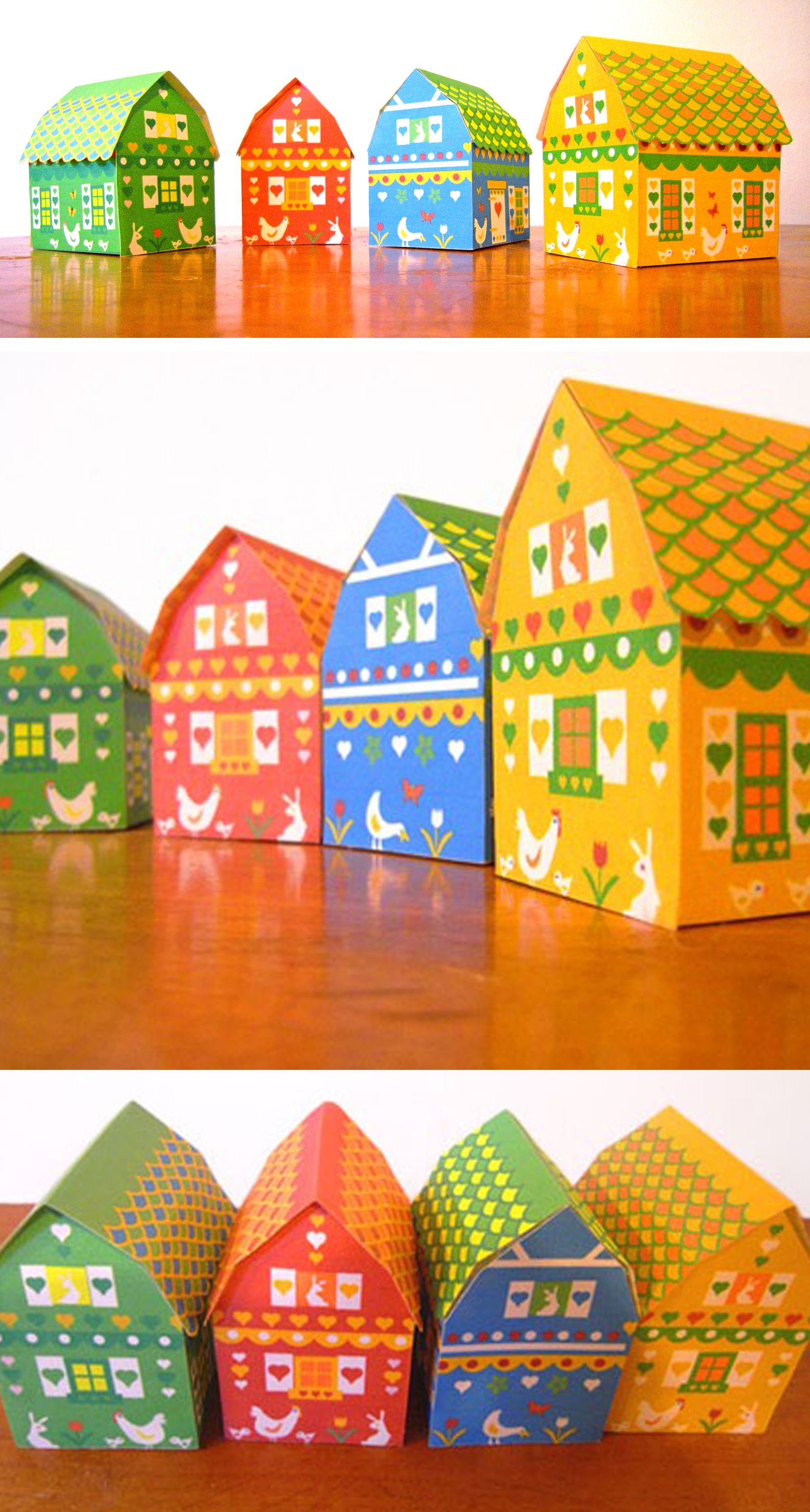 Paper Barnyard gift boxes printable by Happythought www