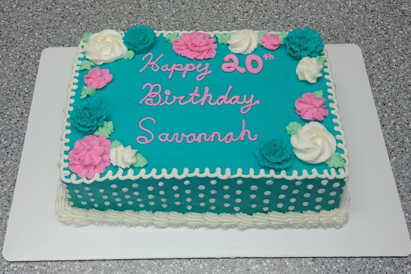 9x13 Cake Decorated With Buttercream Frosting Pretty Flowers And