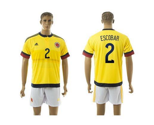 2015 Columbia 2 ESCOBAR Home Yellow Long Sleeve Soccer Jersey