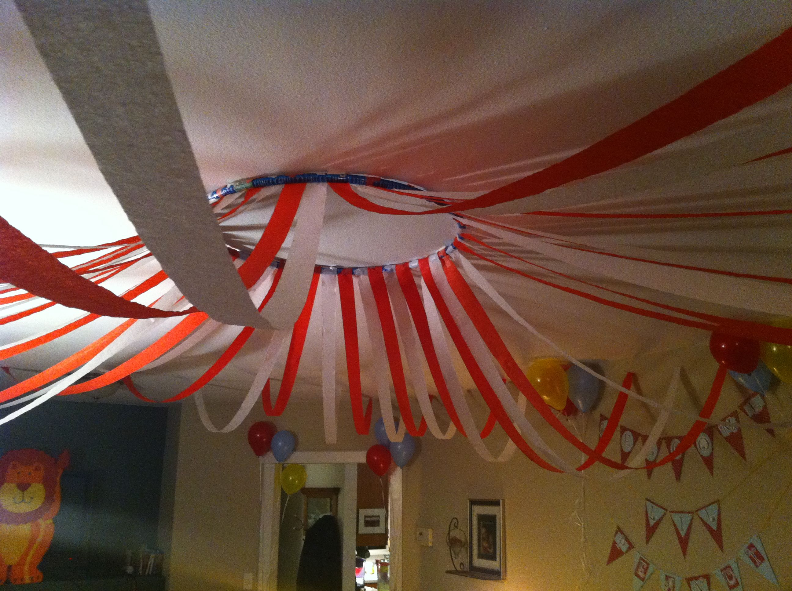 Circus tent canopy hula hoop and streamers My Creations or