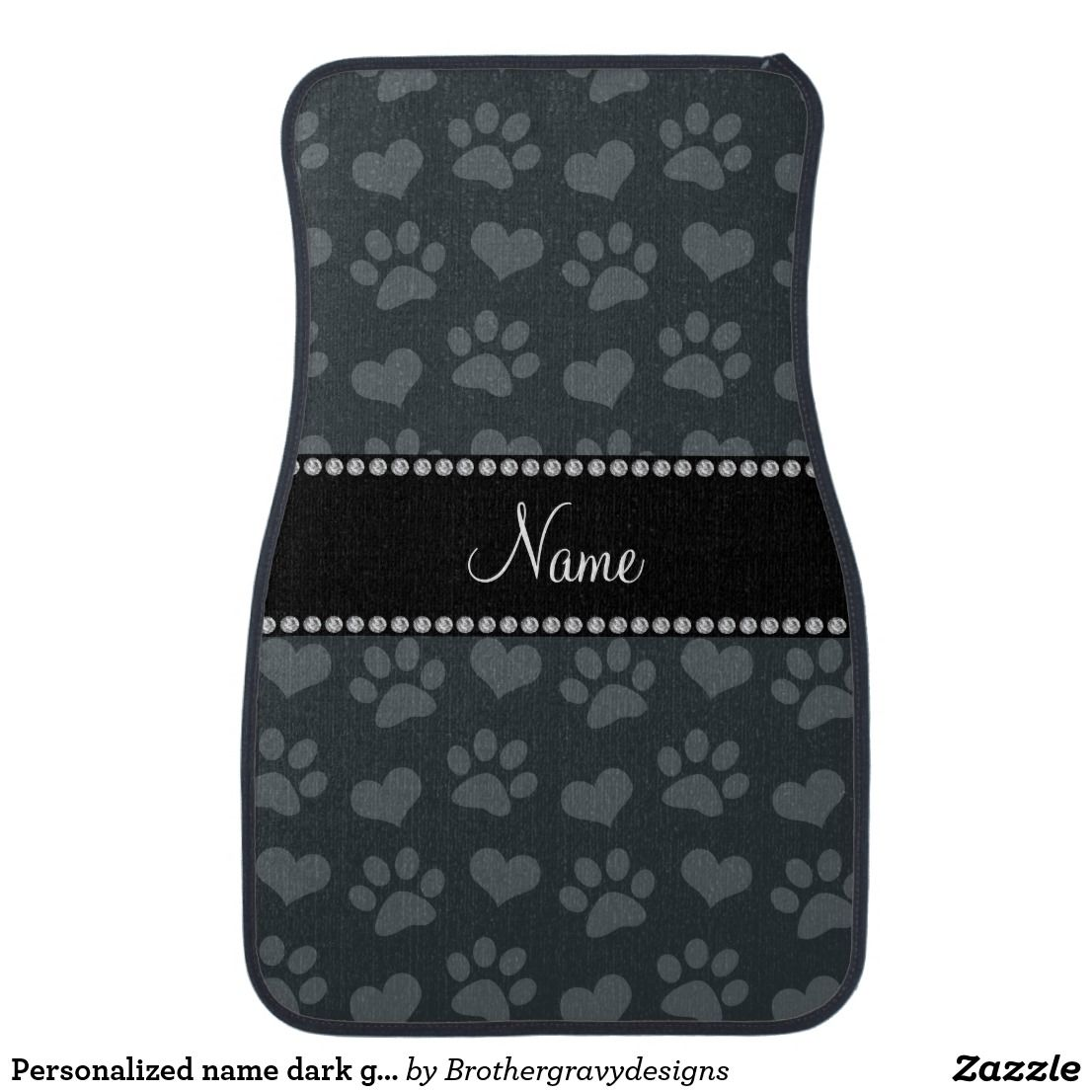 Personalized name dark gray hearts and paw prints car mat