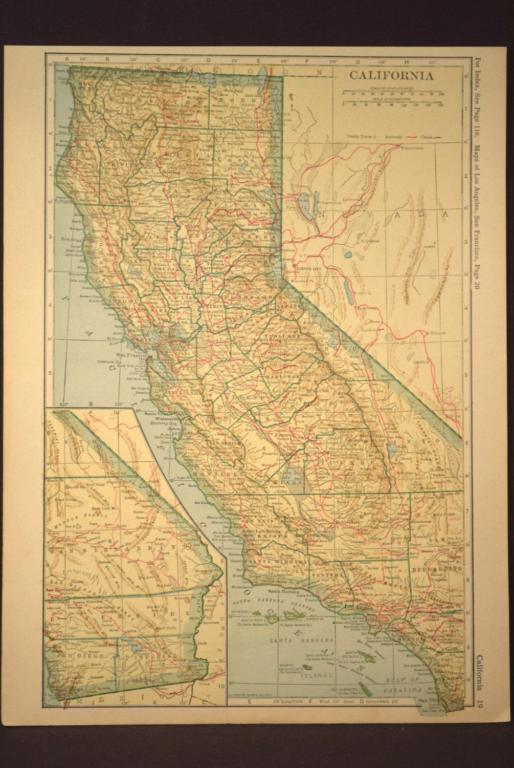 California Map California Railroad Antique Original 1920s | Map Wall ...