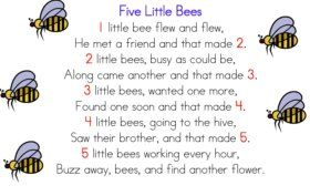 Five Little Bees Counting Rhyme - need to learn the signs ...