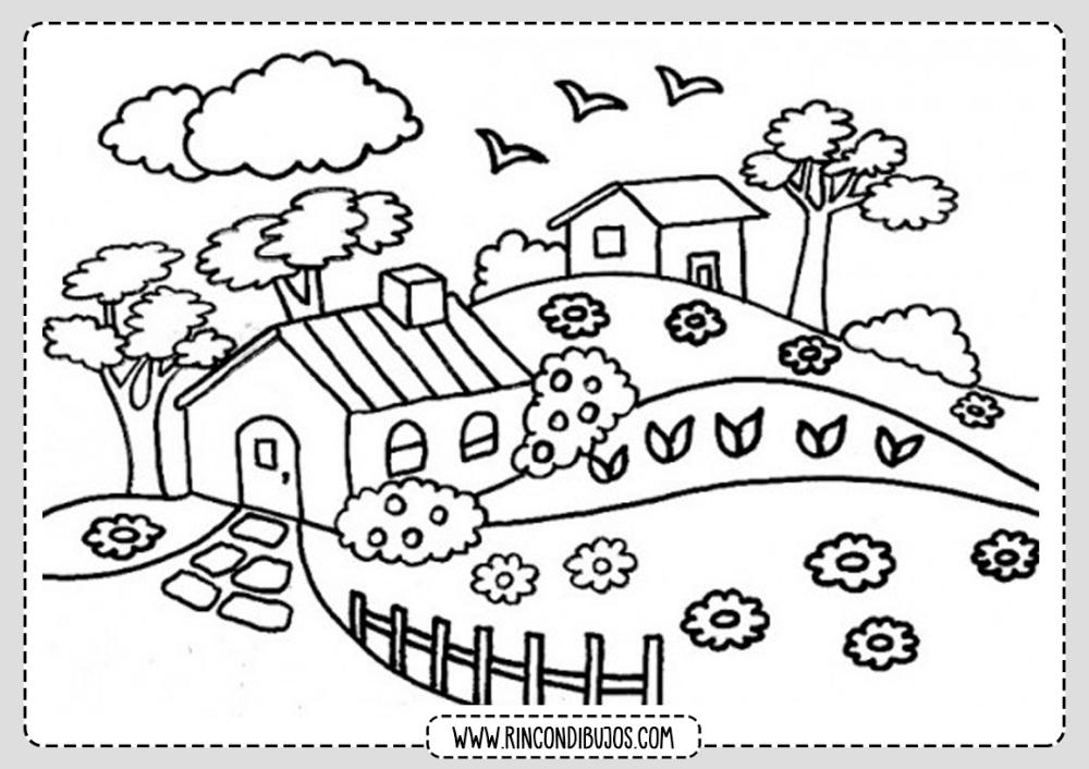 Dibujo De Paisaje Con Casita Colorear Rincon Dibujos Dibujos Para Colorear Paisajes Paisaje Para Colorear Paisajes Bonitos Para Dibujar