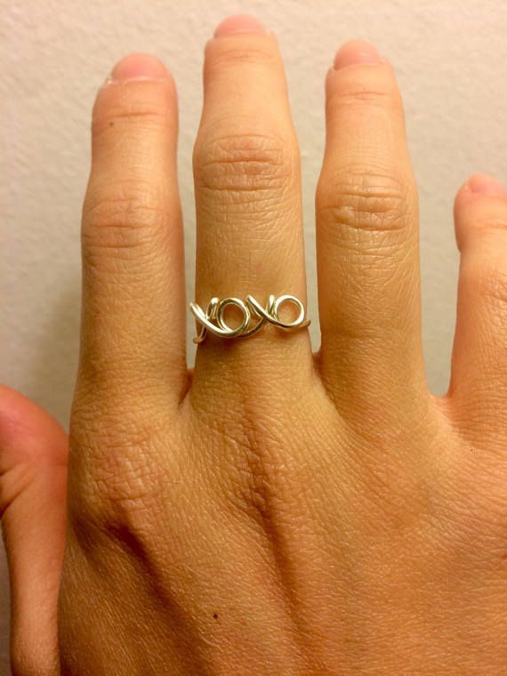 Solid 10k Yellow Gold Mid Finger Band Sideways Cross Knuckle Ring