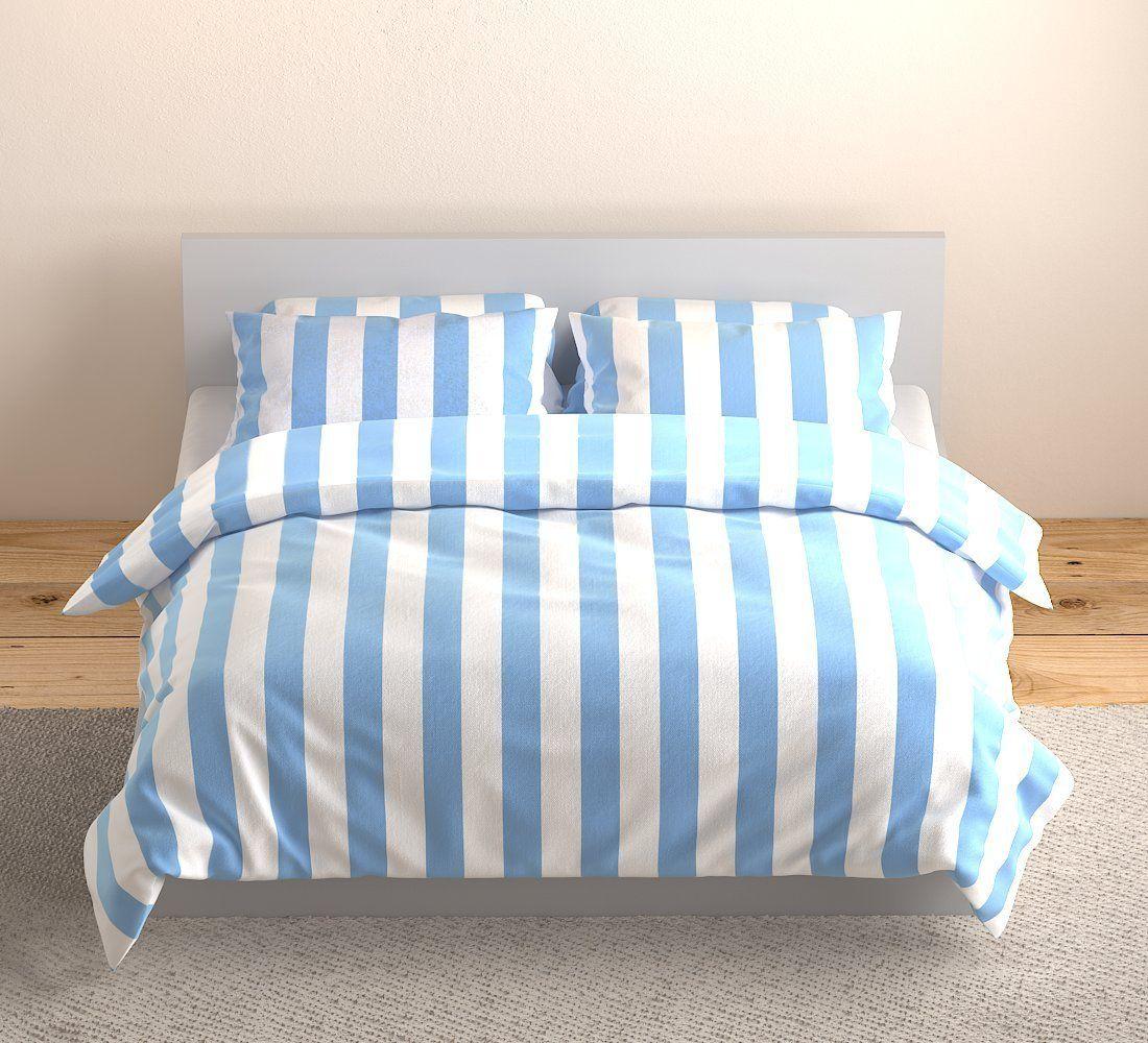 Weaver Bay Light Blue White Stripe Bedding Set Duvet Cover Set