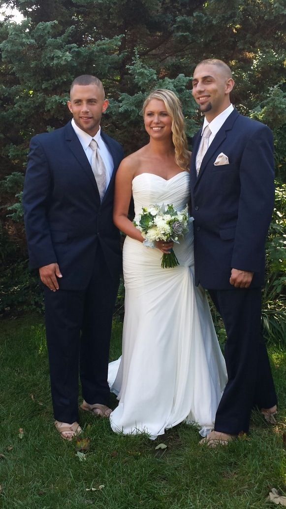 My Brothers And I Navy Suits By Modern Formals In Southington Ct The Guys Wore Brown Rainbow Flip Rainbow Flip Flops Strapless Wedding Dress Wedding Dresses