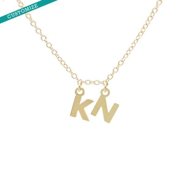 Custom 2 Letter Initial Necklace Initials M And S In Gold Sterling Silver Charm Necklace Charm Necklace Silver Initial Necklace