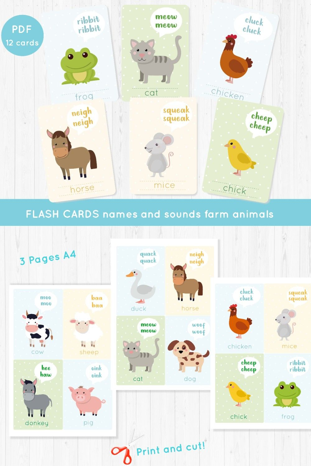 English Flash Cards For Kids, Farm Animals Names and