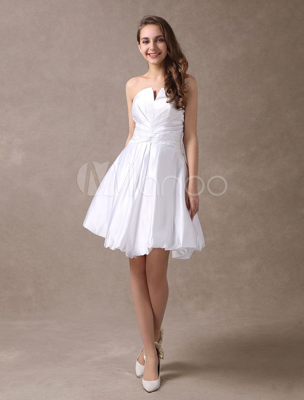 Mini white wedding dress  Beautiful White Satin Aline Strapless Mini Wedding Dress  Wedding