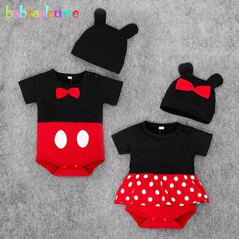 87e4753a4e6 2PCS 0-24Months Summer Baby Boys Girls Clothes Newborn Clothing Jumpsuits  Cartoon Cute Cotton Rompers+Hats Infant Costume BC1145