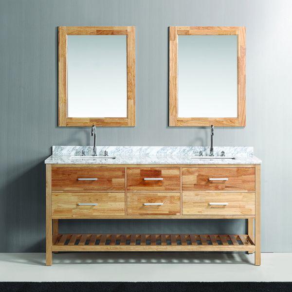 Design Element London Oak Finish Double Sink Vanity Set With Mirror Ping Great Deals On Bathroom Vanities