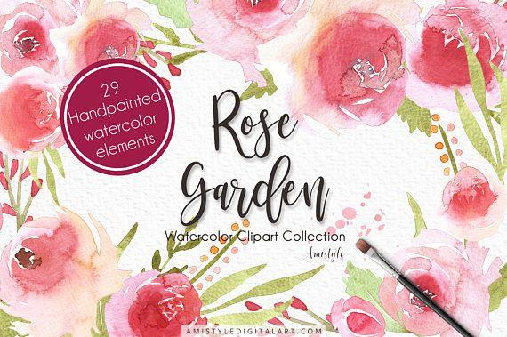 Watercolor Clipart Set, Rose Garden, Wedding Clipart, Watercolor,Clipart, Graphic Floral