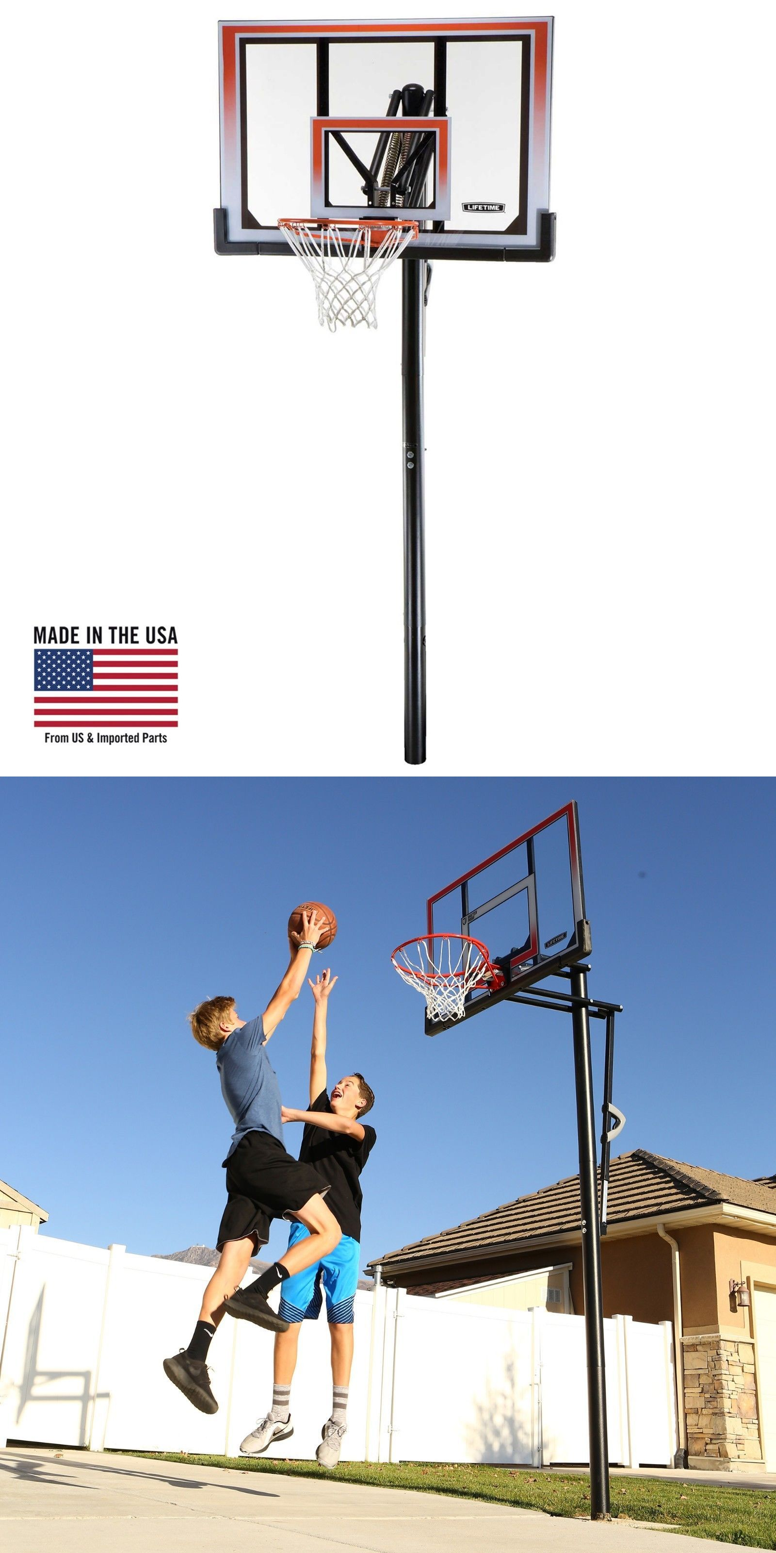 77825a1d39b8 Basketball 21194  Basketball Hoop Game Play Fun 50 Shatterproof In-Ground  One Hand Adjust