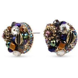 Betsey Johnson Multi Woven Cluster Round Stud Earring