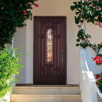 Masonite 36 In X 80 In Providence Center Arch Merlot Right Hand Stained Textured Fiberglass Prehung Front Door With Brickmold 26595 The Home Depot Exterior Doors Exterior Front Doors Front Door