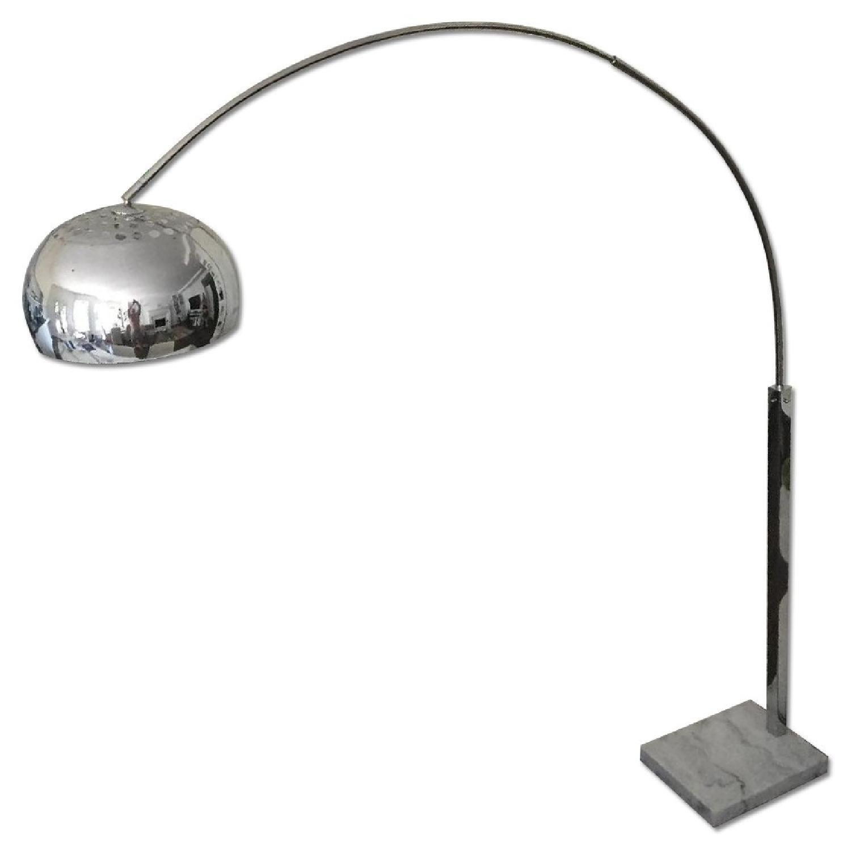 1960 S Inspired Retro Arc Floor Lamp In Chrome W White