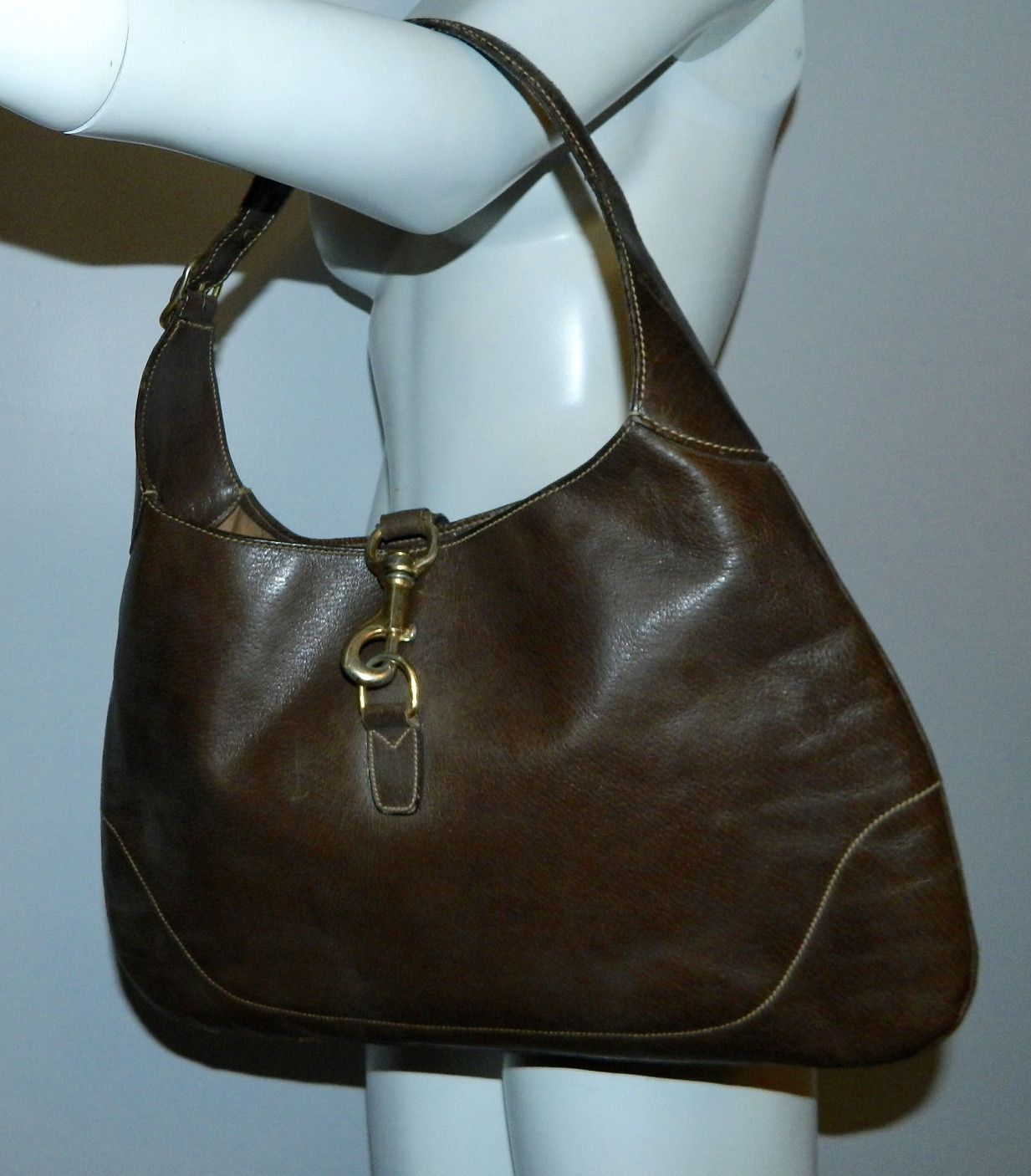 Vintage Gucci Bag Brown Leather 1960s Jackie O Bouvier Purse